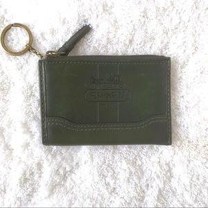 Coach Green Leather Coin/Card Case Keychain